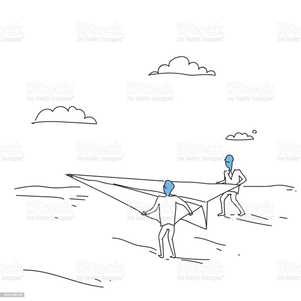 Business People Launching Paper Plane Investor With New Startup Concept vector art illustration