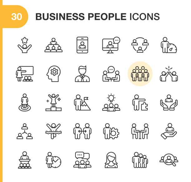 Business People Line Icons. Editable Stroke. Pixel Perfect. For Mobile and Web. Contains such icons as Smartphone, Human Resources, Collaboration, Leadership, Meeting. 30 Outline Icons person icon stock illustrations