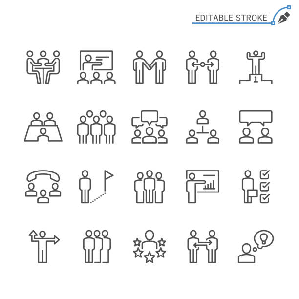 Business people line icons. Editable stroke. Pixel perfect. Simple vector line Icons. Editable stroke. Pixel perfect. meeting stock illustrations