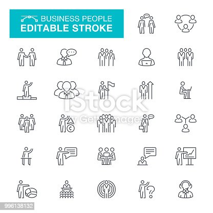 FiConference - Event, Presentation - Speech, People, Line Editable Stroke Icon Set