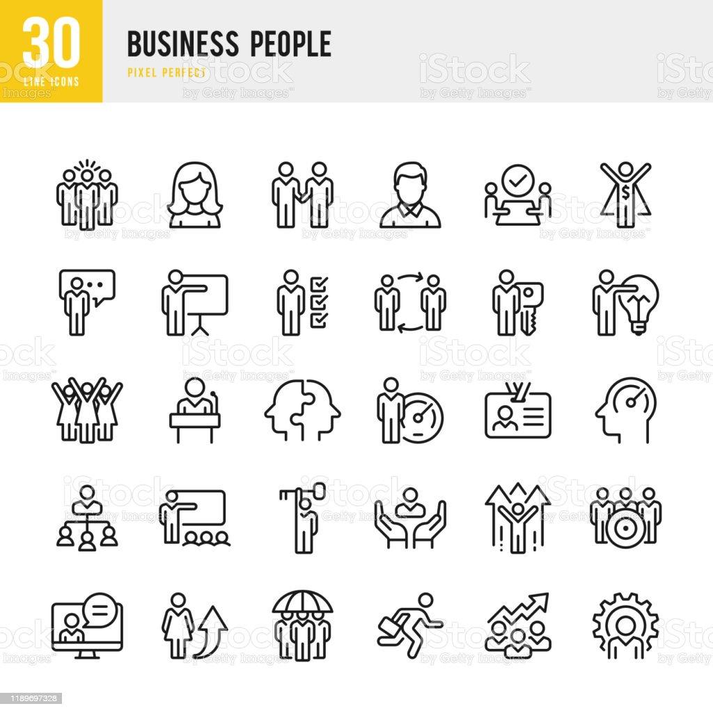 Business People - conjunto de ícones vetoris lineares. Pixel perfeito. O conjunto contém ícones como Pessoas, Trabalho em equipe, Apresentação, Liderança, Crescimento, Gerente, Sucesso, Parceria e assim por diante. - Vetor de Adulto royalty-free