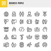 Business People - linear vector icon set. Set of 30 line icon. Pixel perfect. Outline stroke expanded. The set contains icons such as People, Teamwork, Partnership, Presentation, Leadership, Growth, Manager, Success, Partnership and so on.