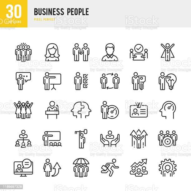 Vetores de Business People Conjunto De Ícones Vetoris Lineares Pixel Perfeito O Conjunto Contém Ícones Como Pessoas Trabalho Em Equipe Apresentação Liderança Crescimento Gerente Sucesso Parceria E Assim Por Diante e mais imagens de Adulto