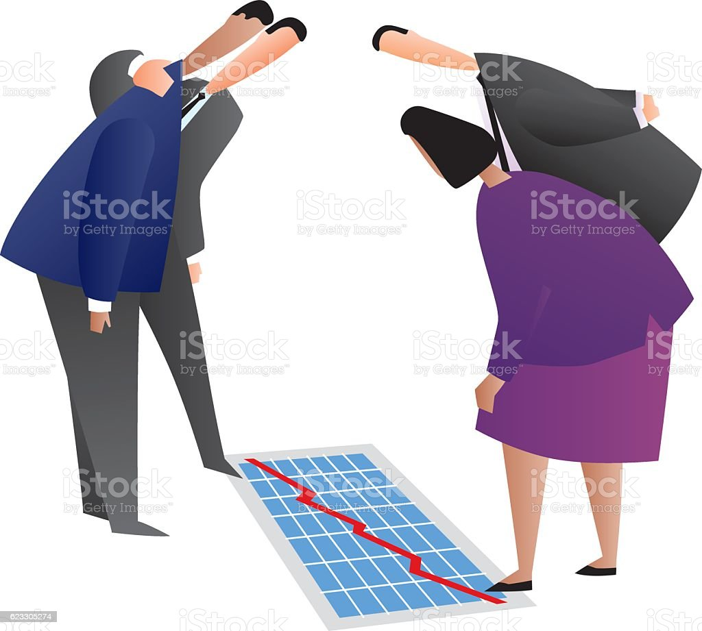 Business People Looking At Chart On Floor vector art illustration