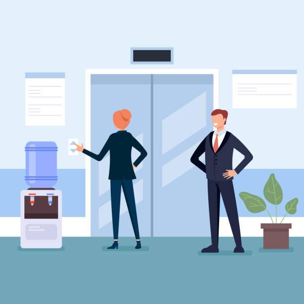 Geschäftsleute Mann und Frau Charakter warten Aufzug in der Business Center Hallengesellschaft. Business Life Konzept. Vector flacher Cartoon-Grafikdesign-Illustration – Vektorgrafik