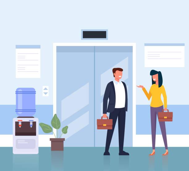 비즈니스 센터 홀 회사에서 엘리베이터를 기다리는 비즈니스 맨 남녀 캐릭터. 비즈니스 라이프 개념입니다. 벡터 플랫 만화 그래픽 디자인 일러스트 - 단정한 사무복 stock illustrations