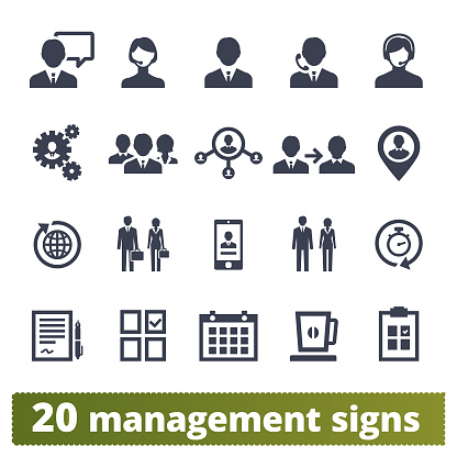 Business People, Management And Teamwork Icons