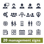 Management, human resources, team work icons vector icons set. Business strategy, project developing, ceo and office people pictograms. Isolated on white background.