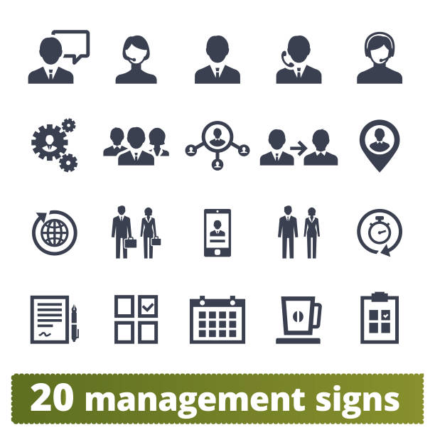 Business People, Management And Teamwork Icons Management, human resources, team work icons vector icons set. Business strategy, project developing, ceo and office people pictograms. Isolated on white background. human representation stock illustrations