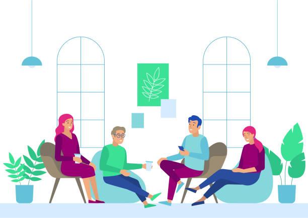 business people meeting bei coffee break im büro. - entspannungsmethoden stock-grafiken, -clipart, -cartoons und -symbole