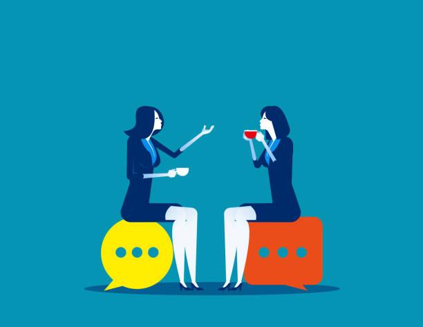 illustrazioni stock, clip art, cartoni animati e icone di tendenza di business people meeting talking. concept business vector illustration, speech bubble, meeting. - business woman