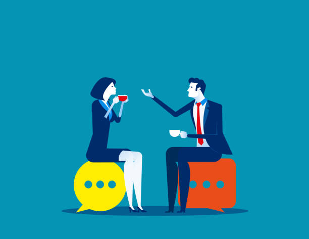 Business people meeting talking. Concept business vector illustration, Speech bubble, Meeting. vector art illustration