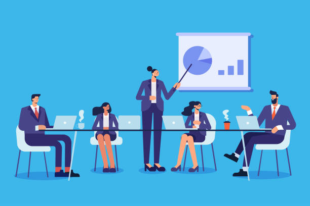 geschäftsleute treffen sich. teamwork, brainstorming. erfolg. - meeting stock-grafiken, -clipart, -cartoons und -symbole