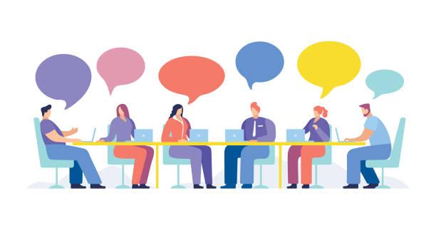 geschäftsleute treffen sich - meeting stock-grafiken, -clipart, -cartoons und -symbole