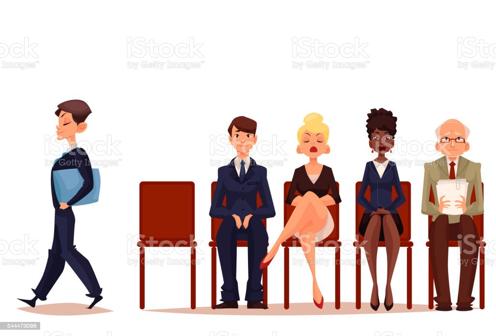 Business people, men and women, waiting for job interview vector art illustration