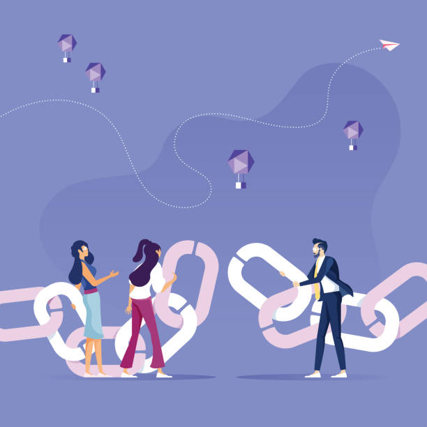 Business people merge the chain-Link concept vector Business people merge the chain-Link concept vector continuity stock illustrations