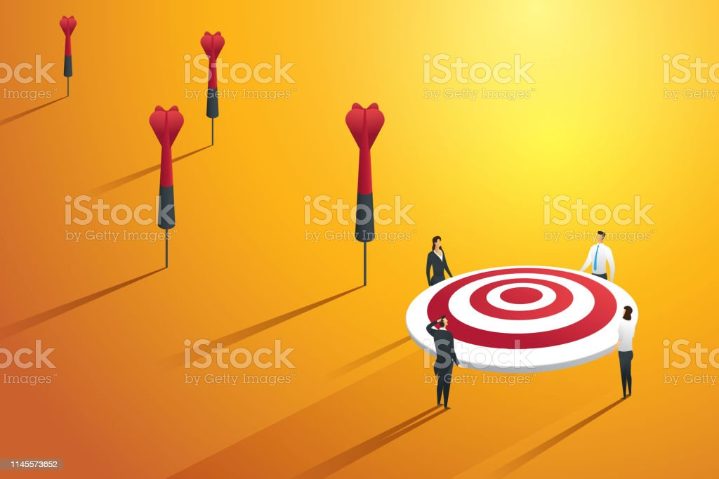 Business people missing the target and not success. illustration...