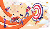 Business People Moving by Red Arrows to Common Target. Men and Women Working Process for Reach Aim and Success. Creative Metaphor. Man on Bike, Guy Drive Hoverboard. Cartoon Flat Vector Illustration
