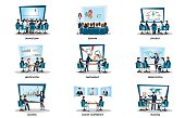 Business people of meeting or teamwork, brainstorming isolated on white, character in flat style vector illustration.