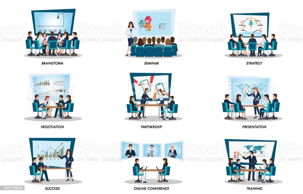 Business people of meeting or teamwork, vector art illustration