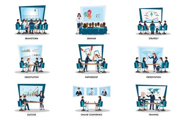 ilustrações de stock, clip art, desenhos animados e ícones de business people of meeting or teamwork, - business meeting