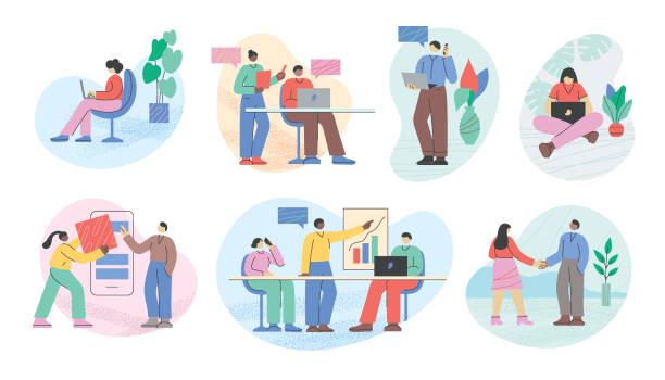 geschäftsleute büroleben - flat design stock-grafiken, -clipart, -cartoons und -symbole