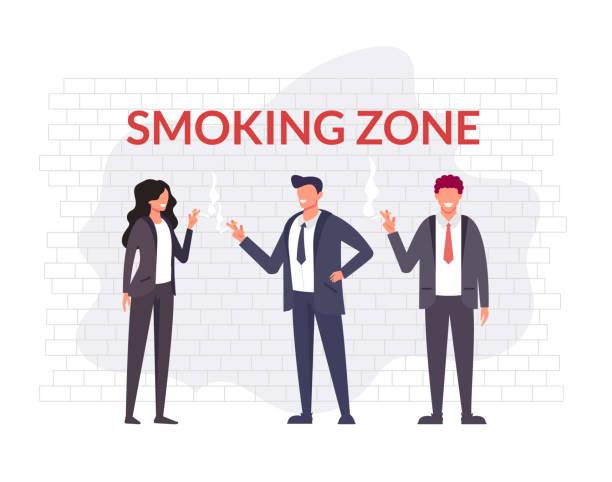 Business people office workers character smoking. Bad habit concept. Vector flat cartoon graphic design illustration vector art illustration