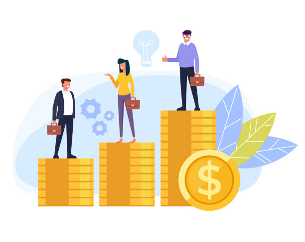 Business people office workers standing on different stack golden coins. Salary income difference concept. Vector flat cartoon graphic design isolated illustration Business people office workers standing on different stack golden coins. Salary income difference concept. Vector flat cartoon graphic design isolated wages stock illustrations