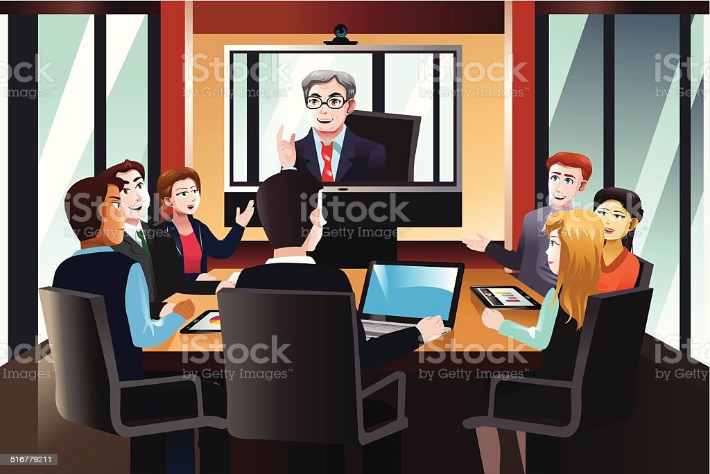 Business people on a video conference vector art illustration