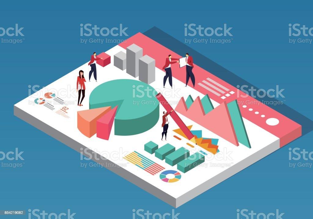 Business people on chart data vector art illustration