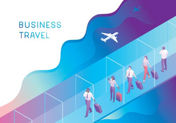 ilustraciones, imágenes clip art, dibujos animados e iconos de stock de la gente de negocios en jet bridge - viaje de negocios
