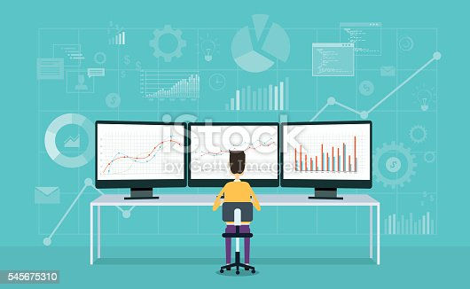 istock business people on monitor report graph and business analyze 545675310