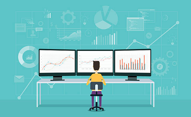 business people on monitor report graph and business analyze - supervisor stock illustrations, clip art, cartoons, & icons