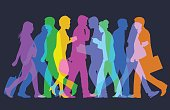 Colourful overlapping silhouettes of business people. Fully re-positionable elements