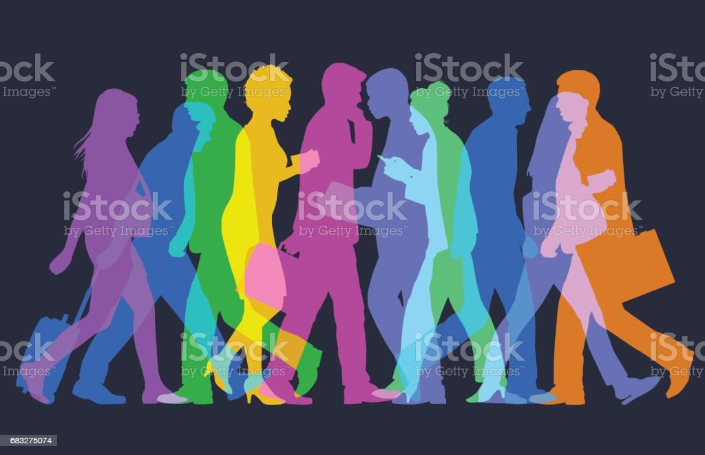 Business People or commuters vector art illustration