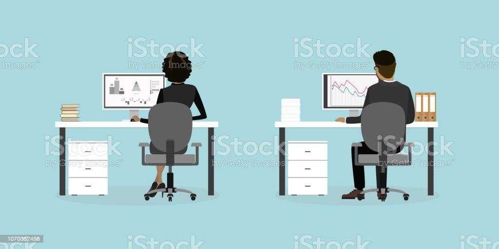 Företag personer eller office arbetstagare på arbetsplatsen bakifrån, - Royaltyfri Affärskvinna vektorgrafik