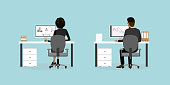 Business people or office workers on the workplace back view,flat vector illustration.