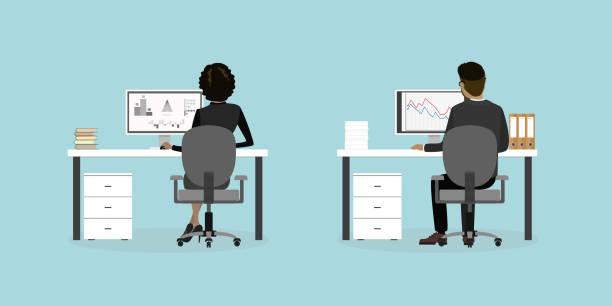 ilustrações, clipart, desenhos animados e ícones de trabalhadores de pessoas ou escritório de negócios no local de trabalho volta a vista, - carteira