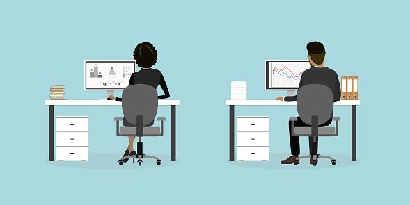 Företag Personer Eller Office Arbetstagare På Arbetsplatsen Bakifrån-vektorgrafik och fler bilder på Affärskvinna