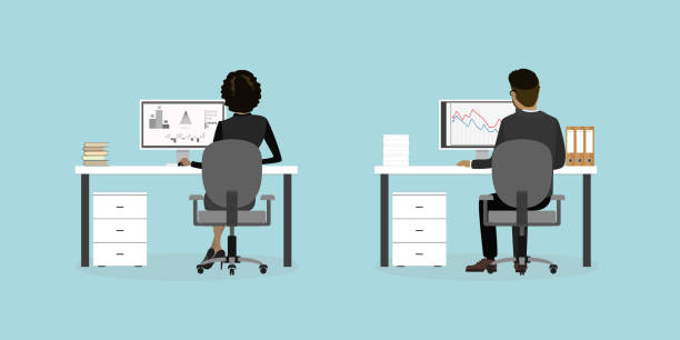 Business people or office workers on the workplace back view, Business people or office workers on the workplace back view,flat vector illustration. back stock illustrations