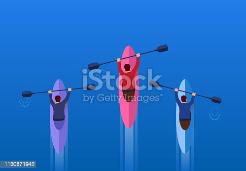 Business people paddling competition