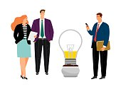 Business people planting idea. Woman man wait creative start. Management, brainstorm or working communication and exchange of thoughts vector illustration