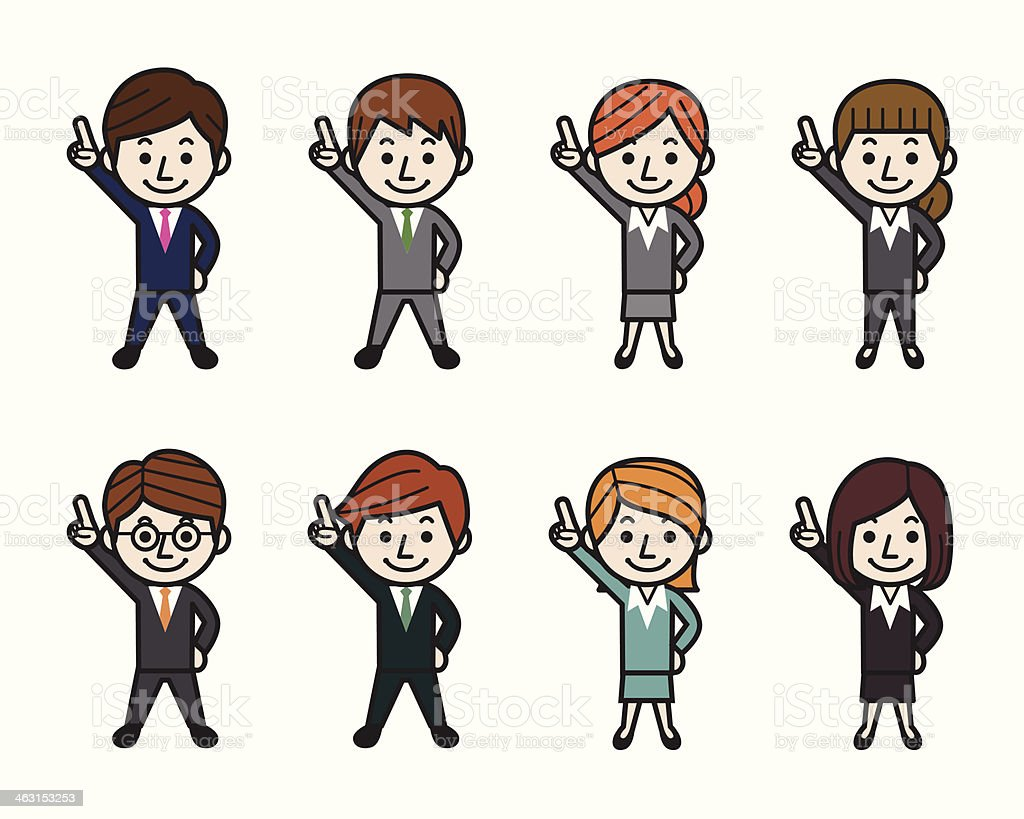 Business People Pointing Up vector art illustration