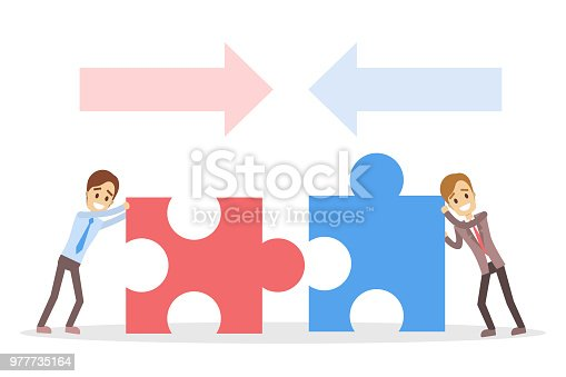 Business people pulling puzzles together for partnership.