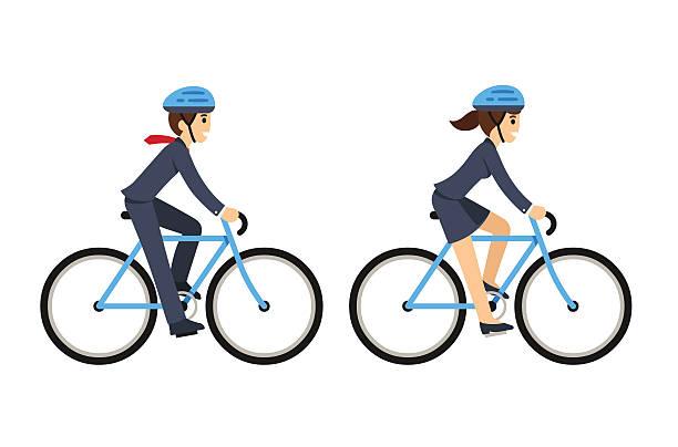 geschäftsleute reiten fahrräder - lustige fahrrad stock-grafiken, -clipart, -cartoons und -symbole