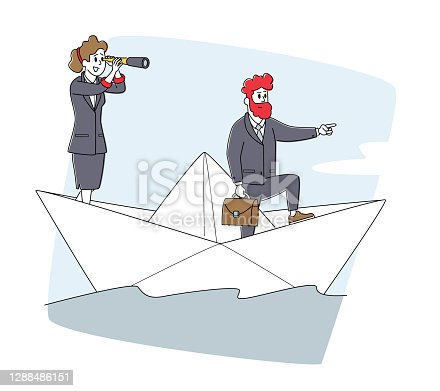 istock Business People Riding Ship on Sea Waves. Businesspeople Team on Paper Boat Sailing Toward Profit. Characters Floating 1288486151