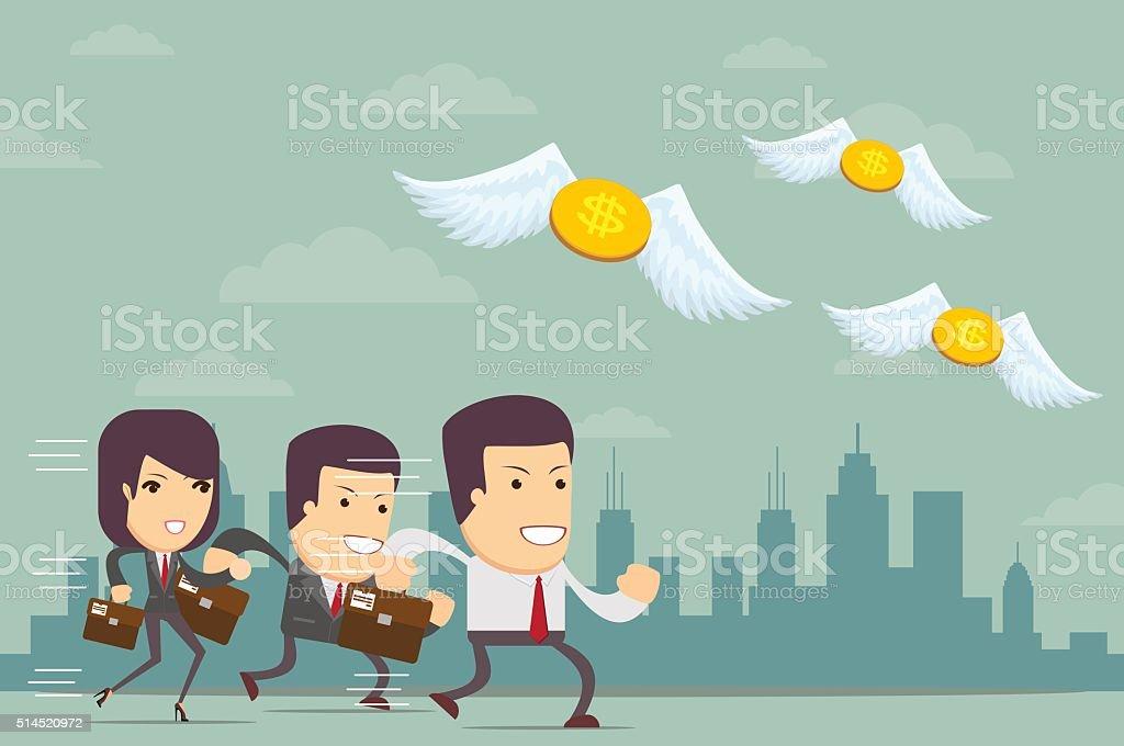 business people run a race vector art illustration