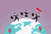 Direction, Globe - Navigational Equipment, Illustration, Planet Earth, World Map, Business, Global business