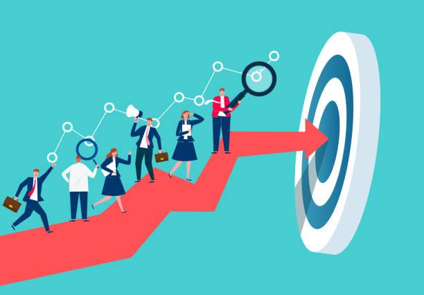 ludzie biznesu prowadzą swoją pracę i badania aż do osiągnięcia celu, ludzie biznesu, którzy ciężko i wytrwale pracują - aspiracje stock illustrations
