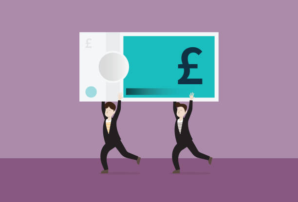 Business people run with UK pound banknotes Business, Investment, Currency, Economic stimulus, Cash is king, Teamwork, British currency stimulus check stock illustrations